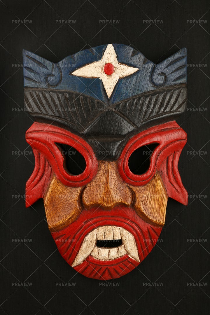 Asian Mask Of Wood: Stock Photos