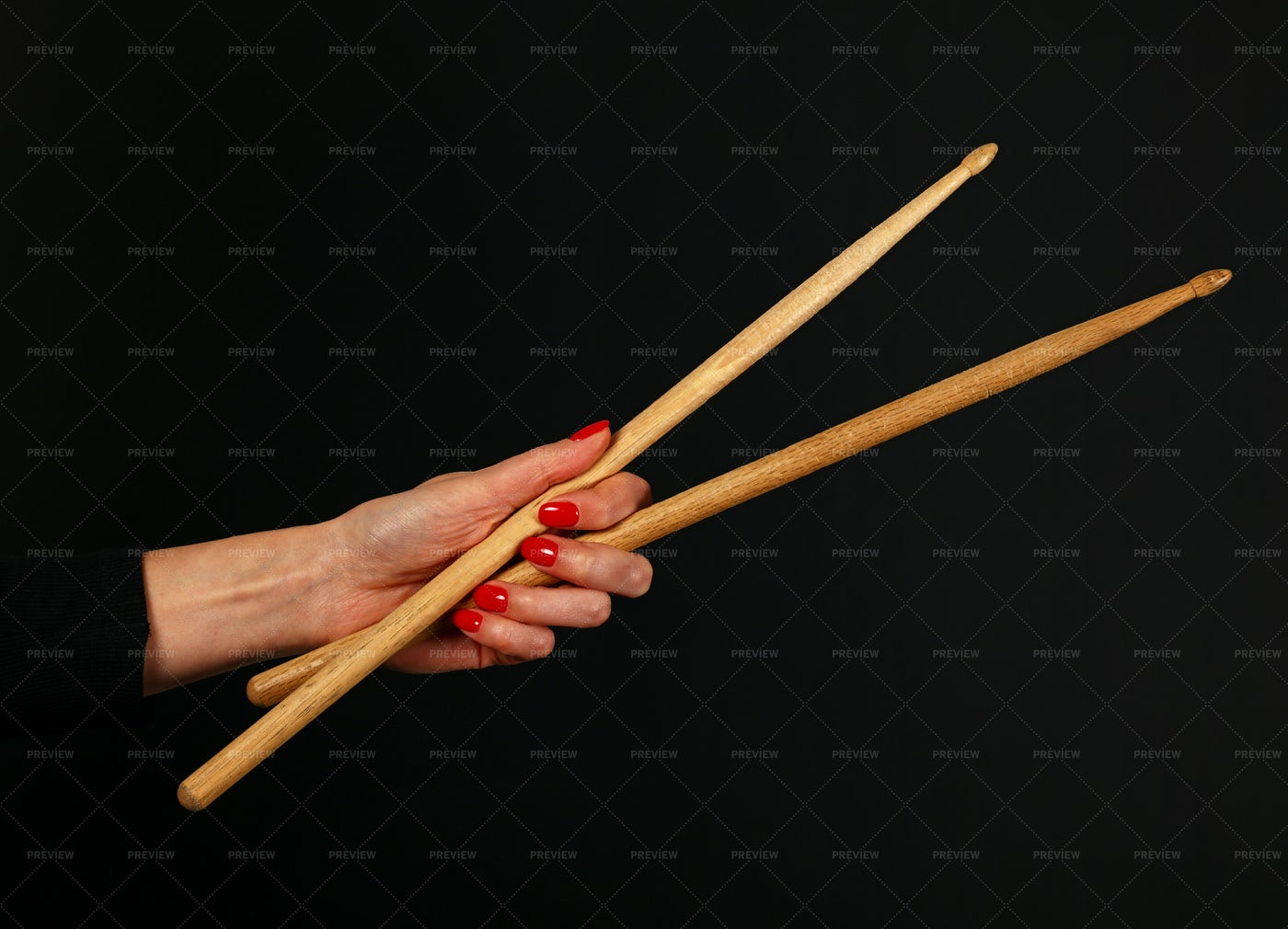 Woman Hand With Drumsticks: Stock Photos