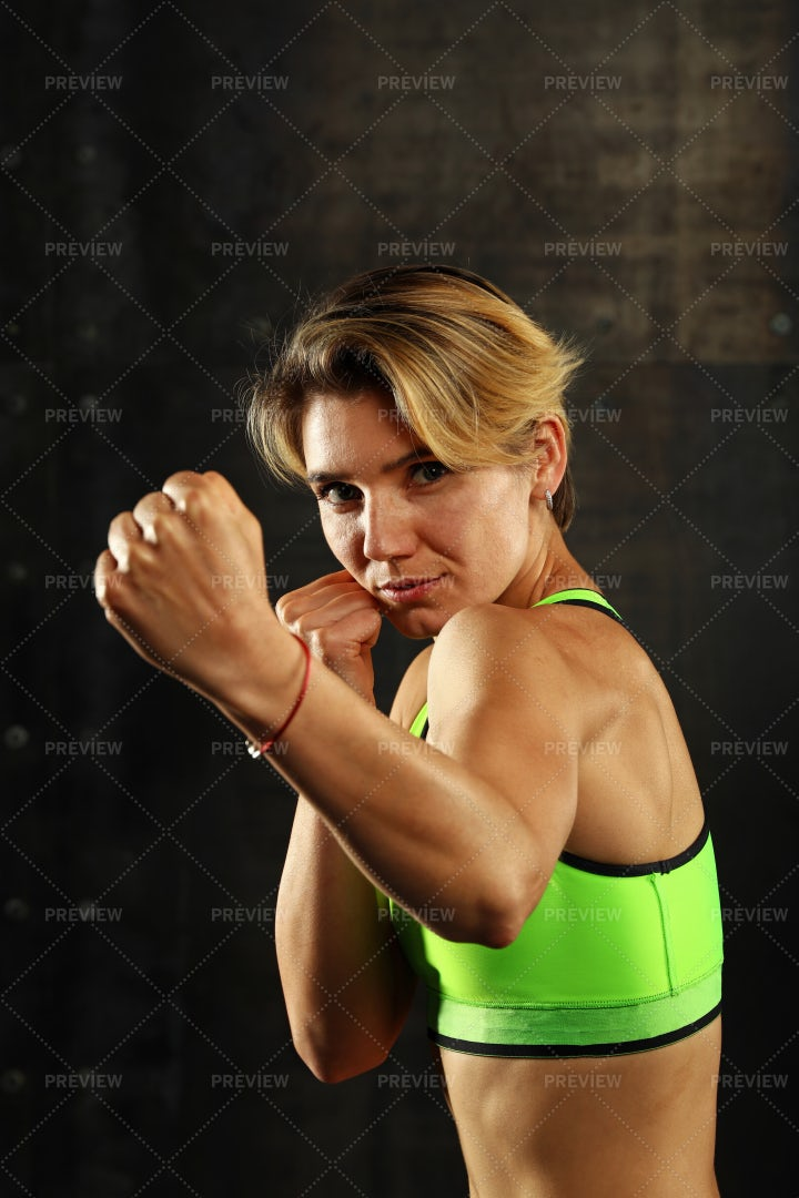 Woman In Boxing Stance: Stock Photos
