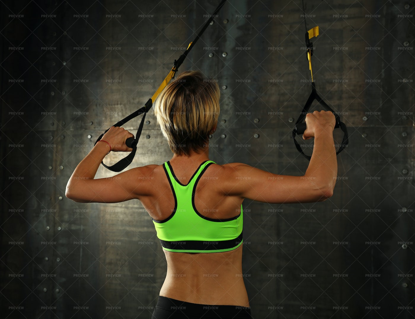 Exercising With Fitness Straps: Stock Photos