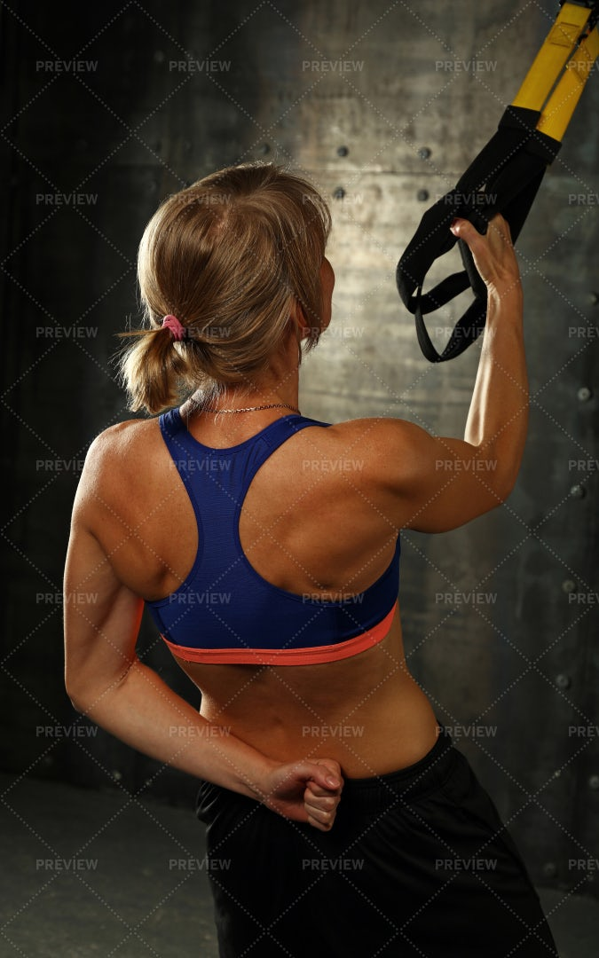 Working Out With Straps: Stock Photos