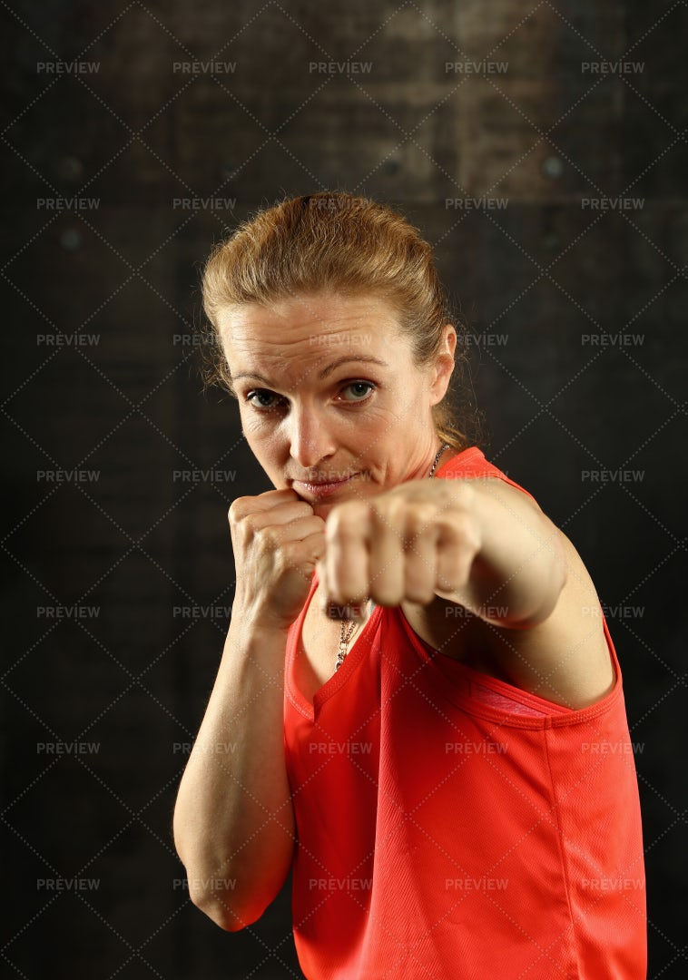 Women In Boxing Stance: Stock Photos