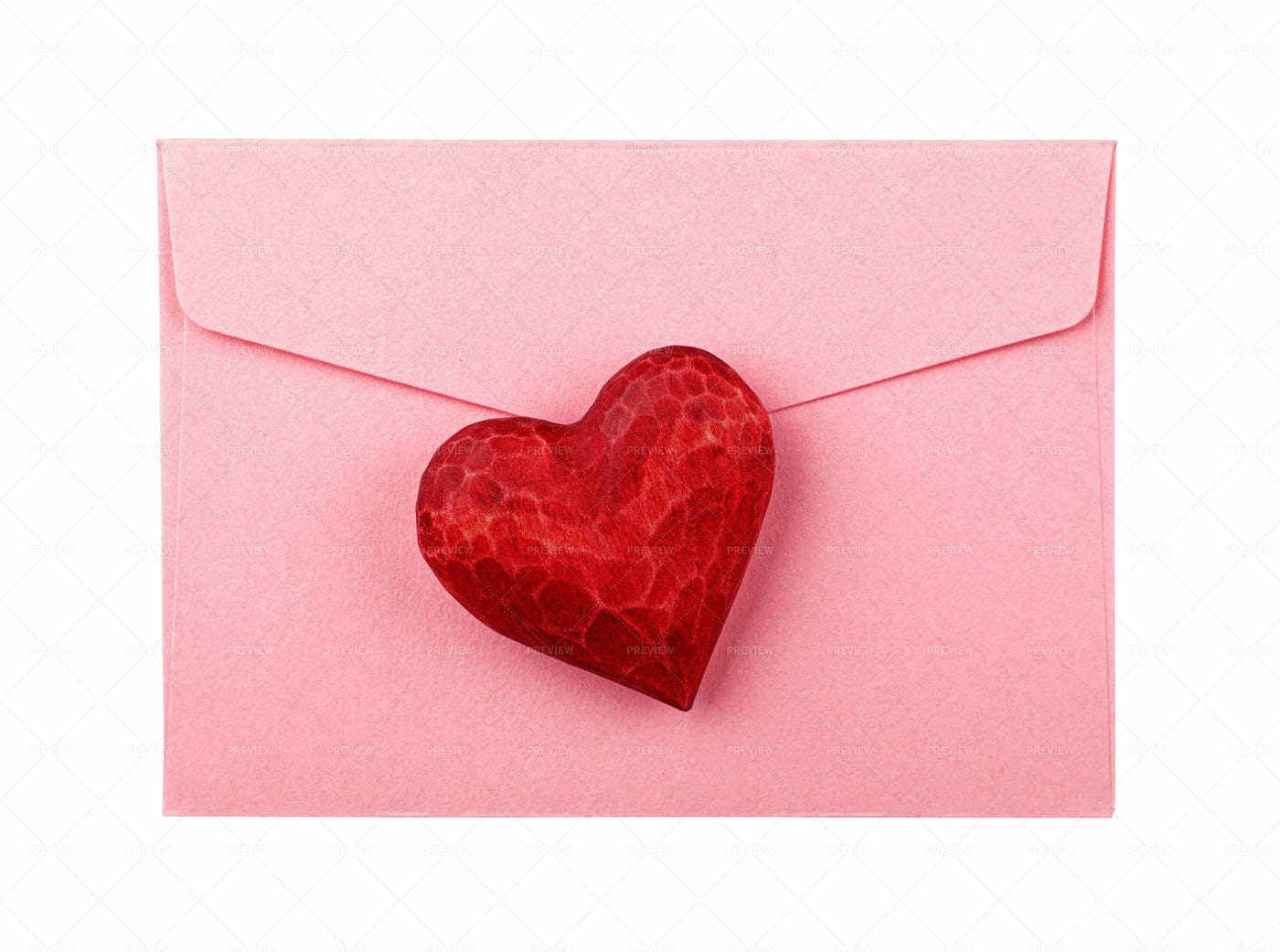 Red Wooden Heart On Envelope: Stock Photos