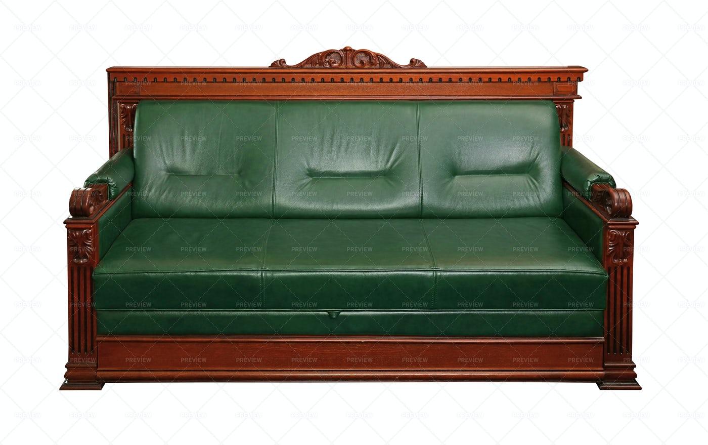 Green Leather Sofa: Stock Photos