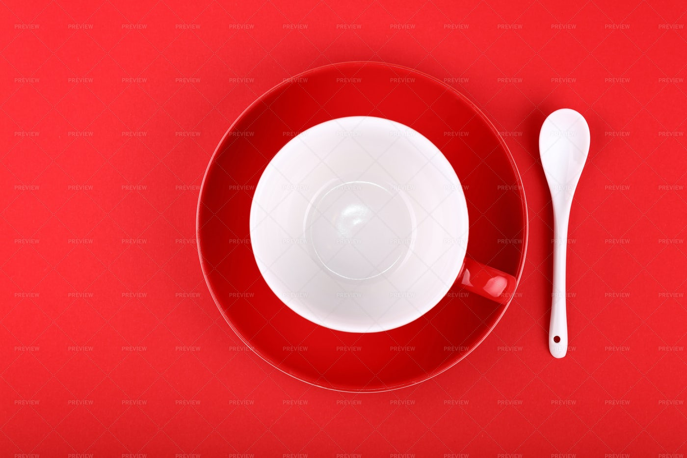 Red Cup And Saucer: Stock Photos