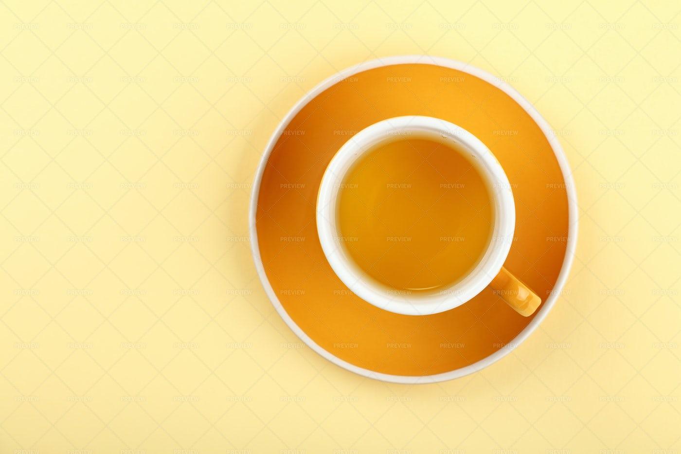 Green Tea In Orange Cup: Stock Photos