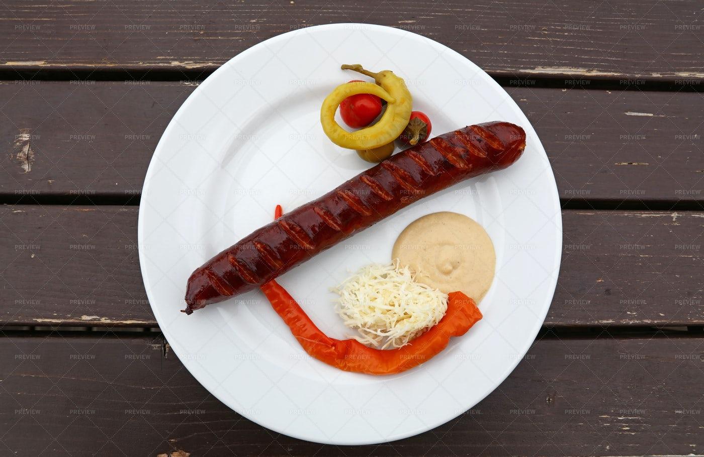 Smoked Grilled Sausage: Stock Photos