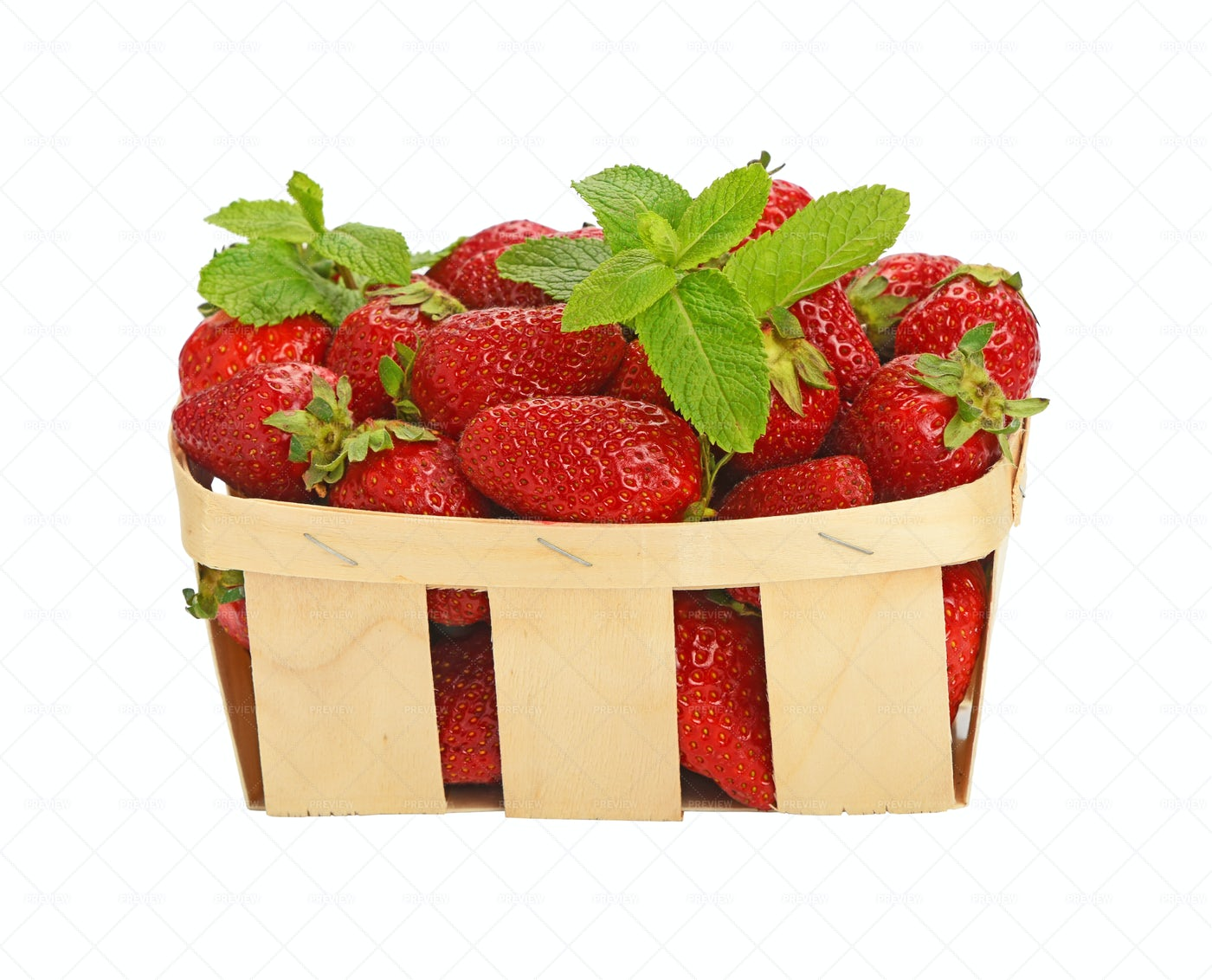 Strawberries In A Wooden Basket: Stock Photos