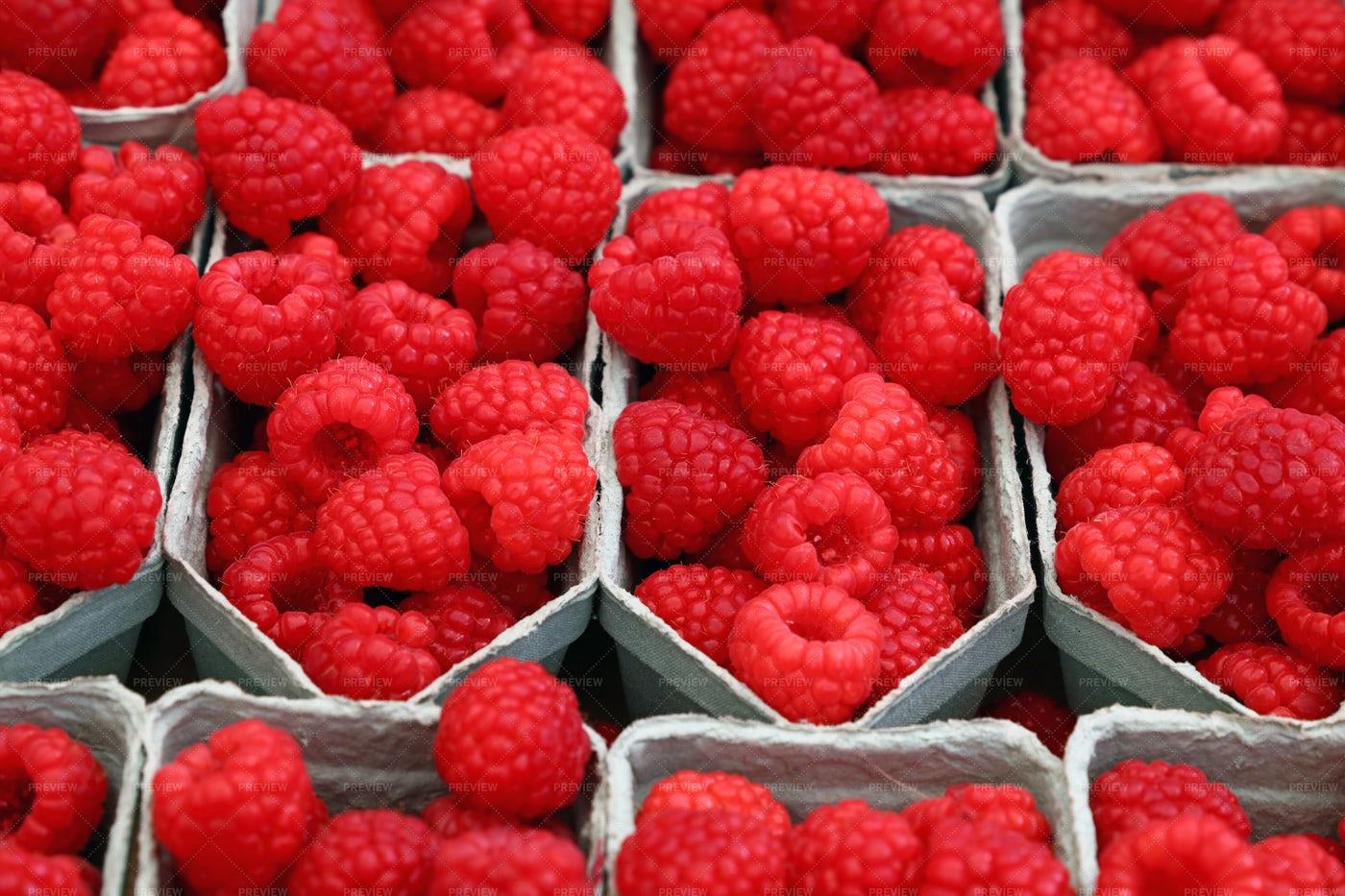 Raspberries For Sale: Stock Photos