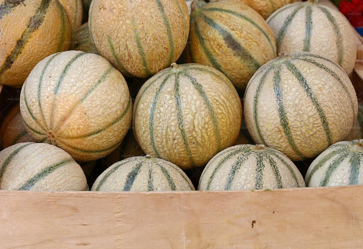 Fresh Cantaloupe Melons: Stock Photos