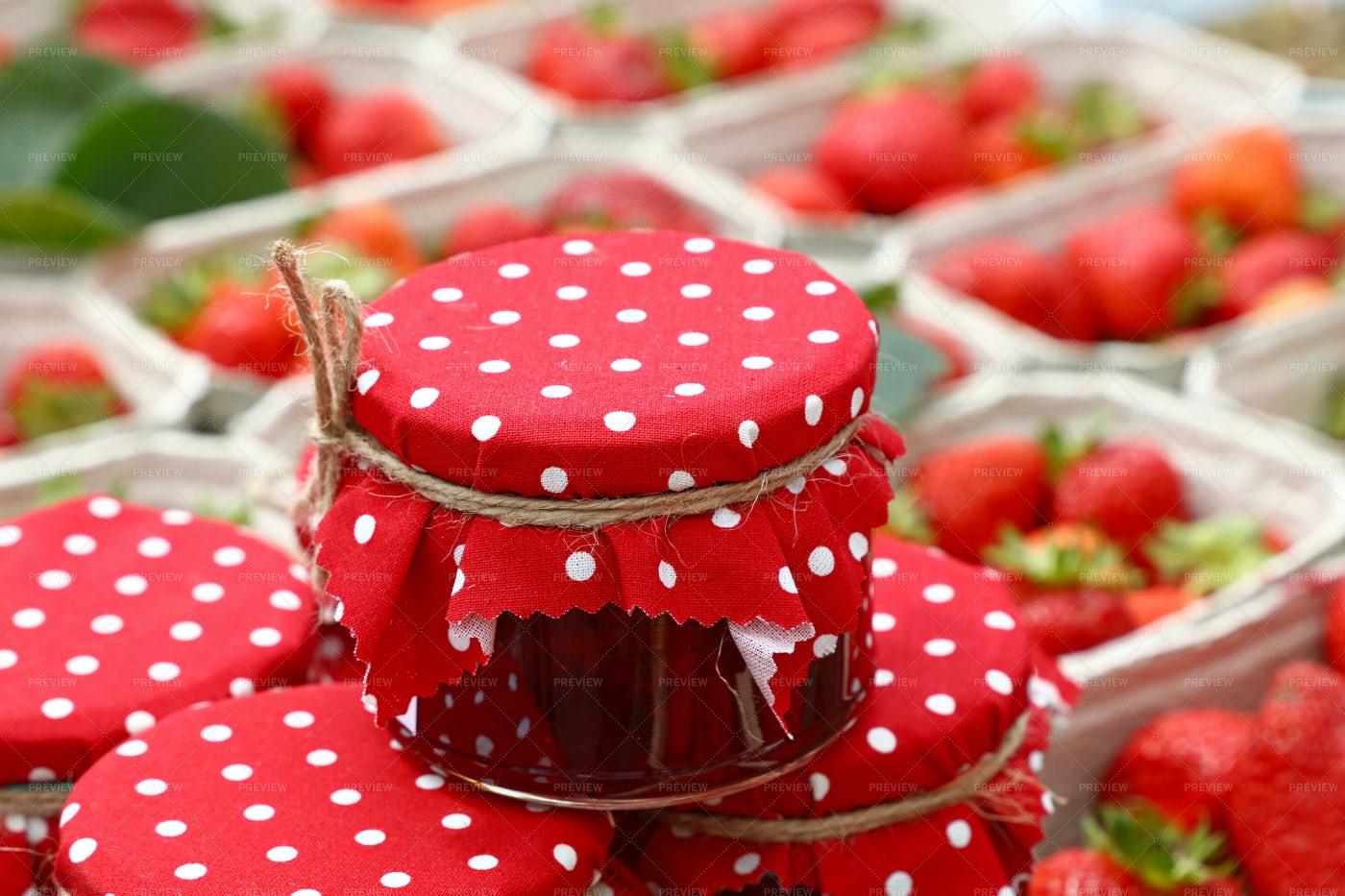 Jars Of Strawberry Jam: Stock Photos