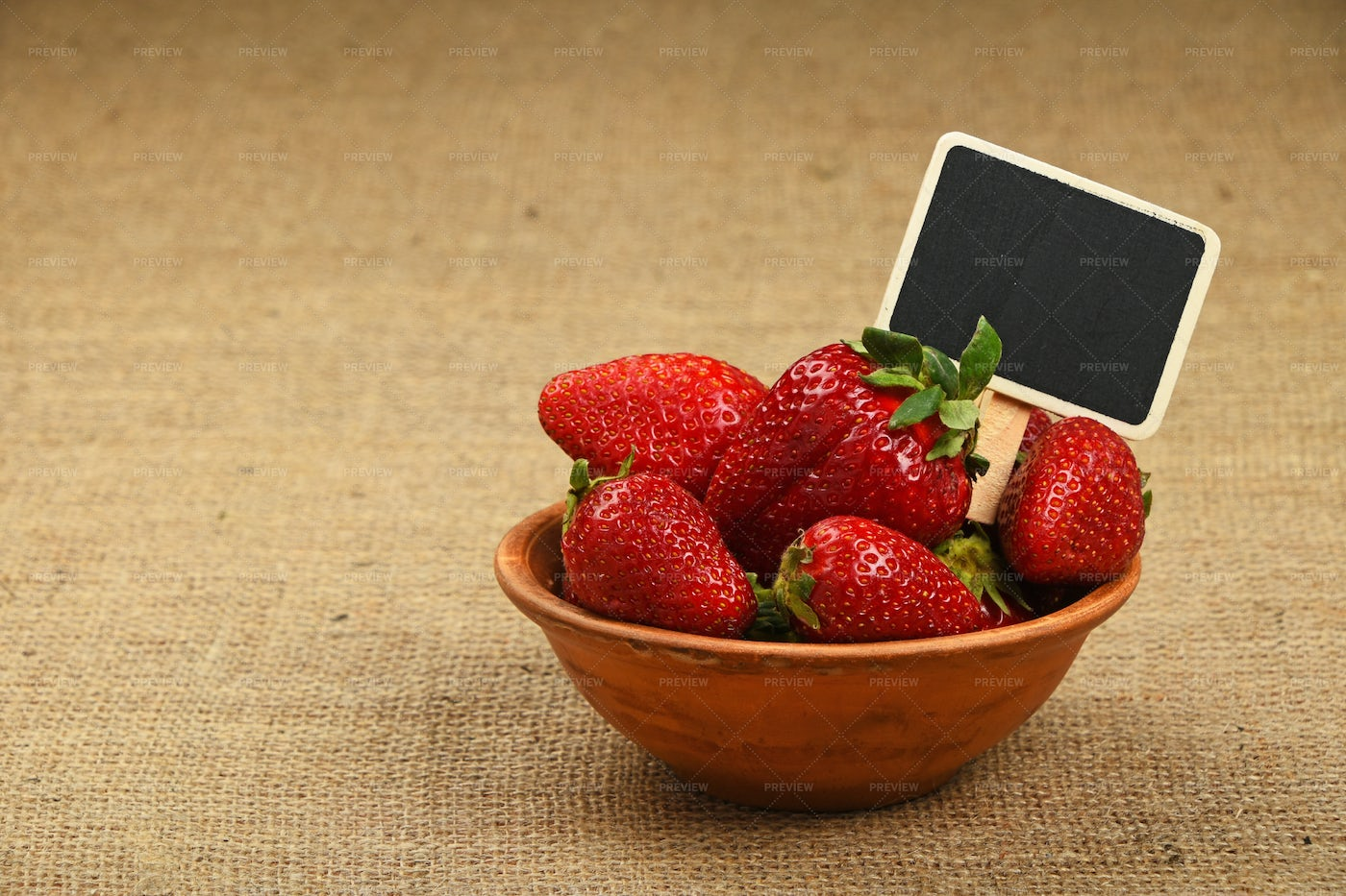 Strawberries With Sign: Stock Photos