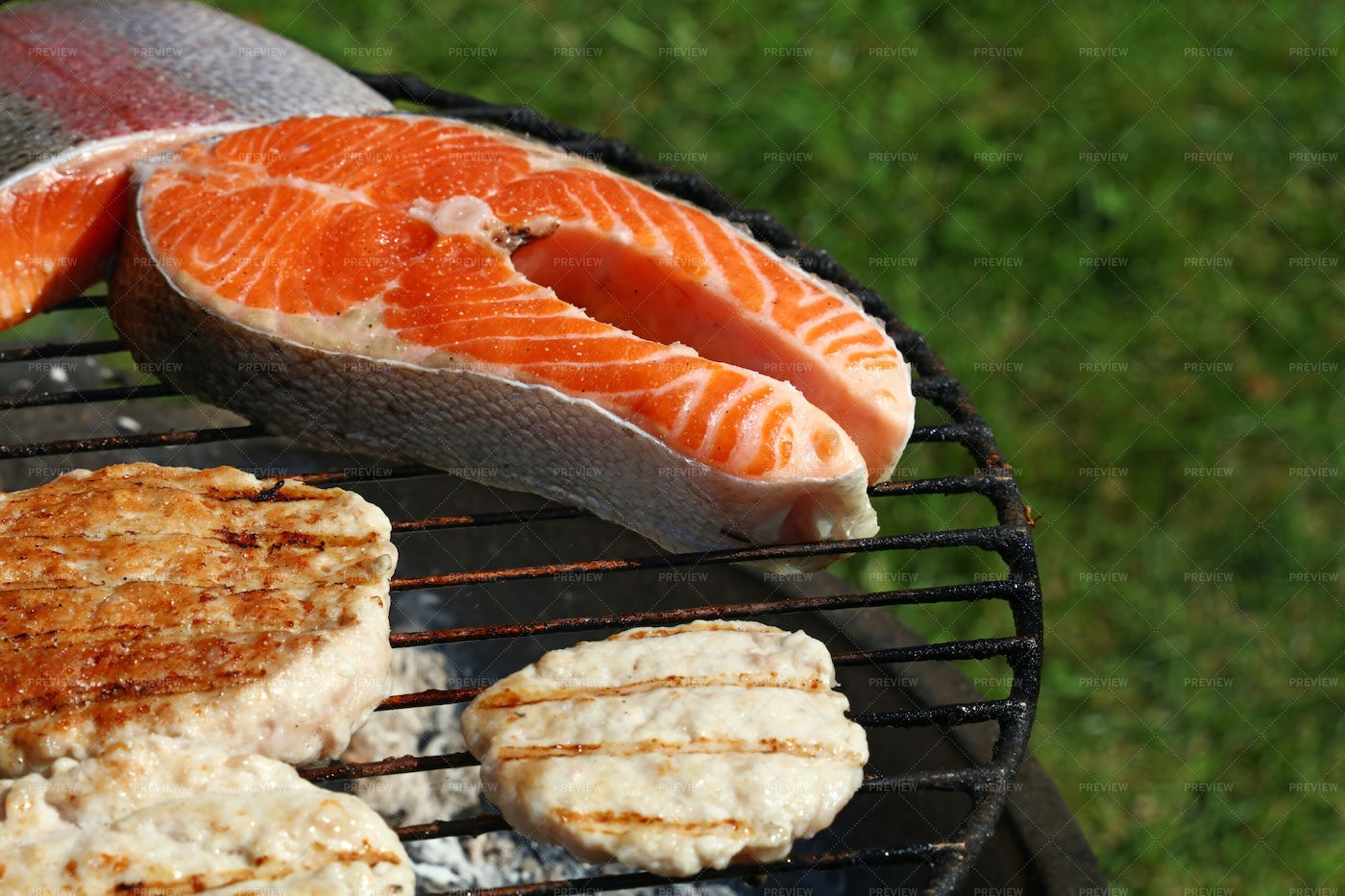 Barbecuing Meats: Stock Photos