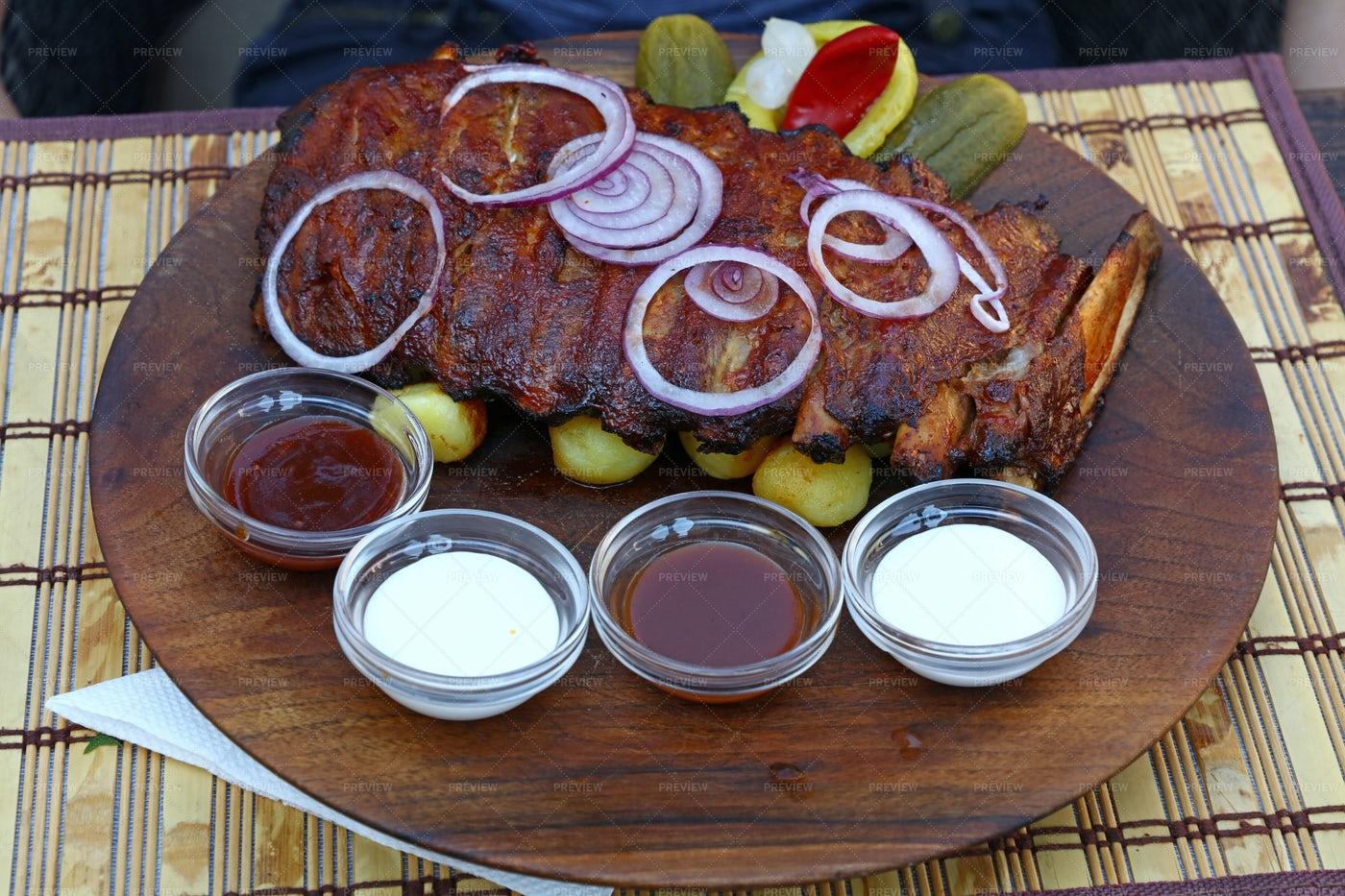 Roasted Pork Spare Ribs: Stock Photos