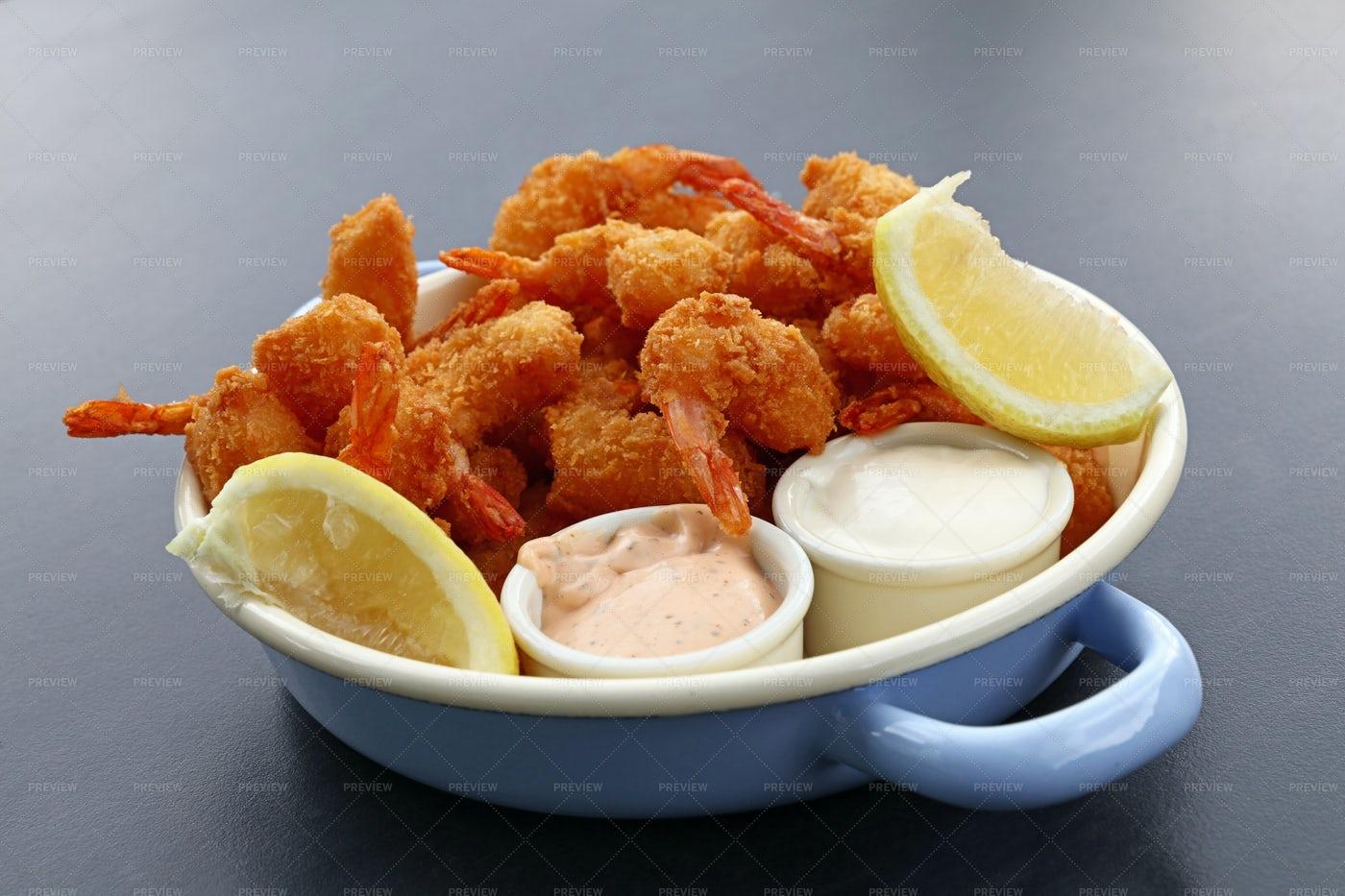 Portion Of Breaded Shrimp: Stock Photos