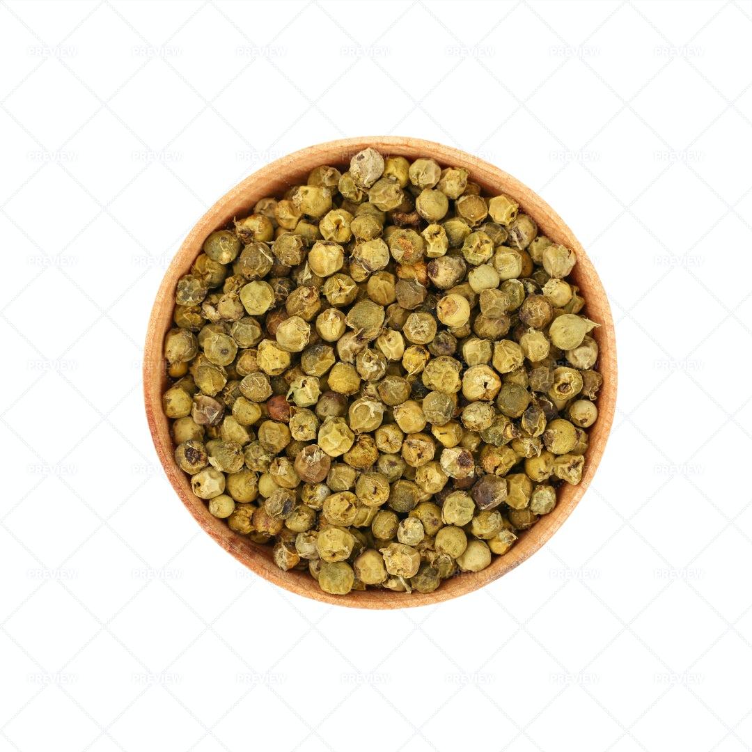 Bowl Of Green Peppercorns: Stock Photos