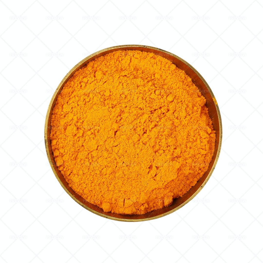 Bowl Of Turmeric Powder: Stock Photos