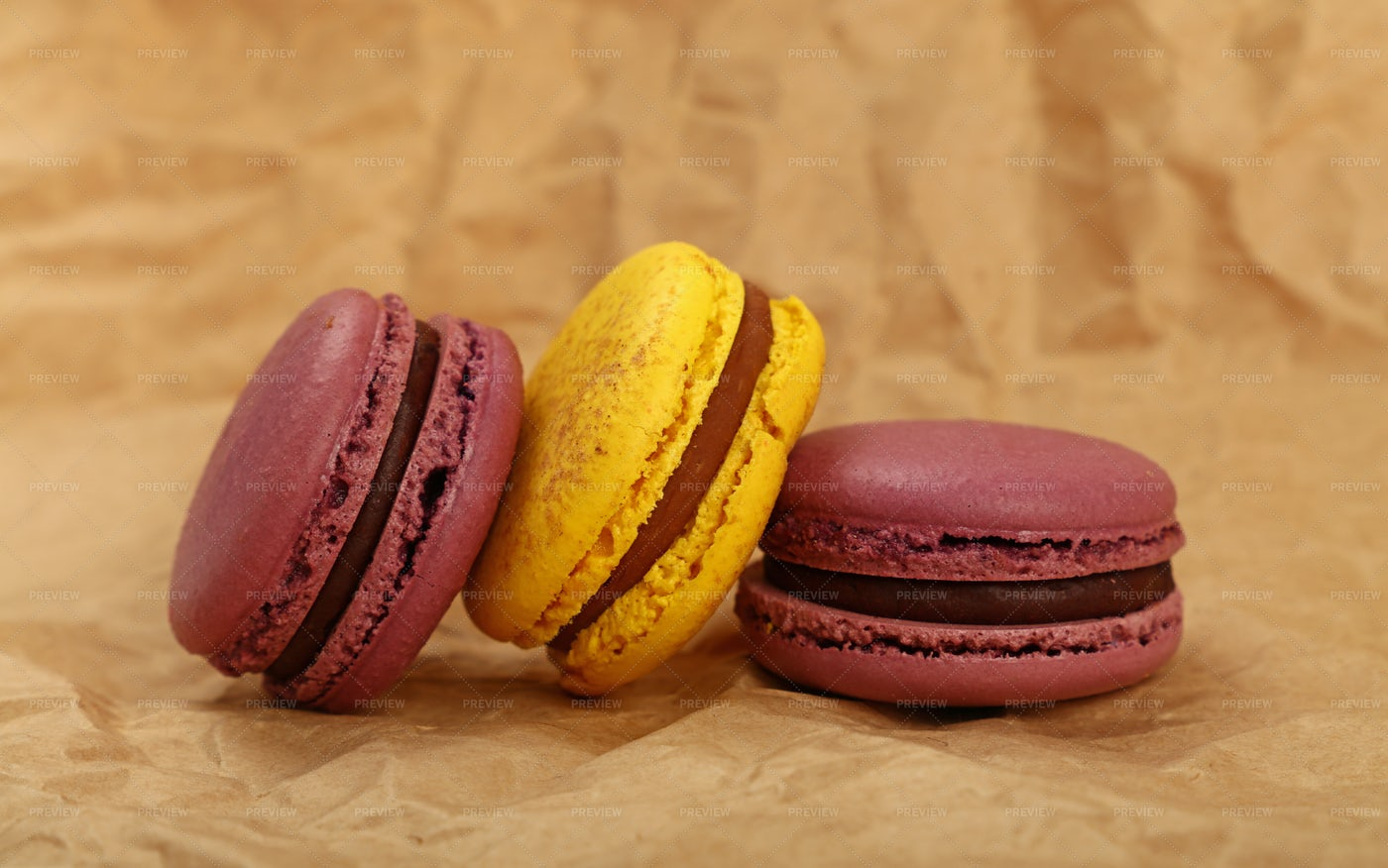 Macaron Cookies On Paper: Stock Photos
