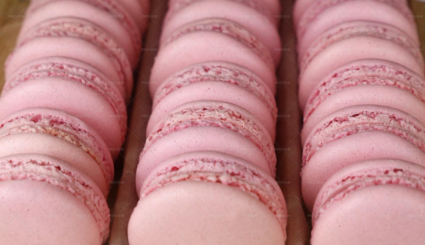 Pink Macaroon Cookies: Stock Photos