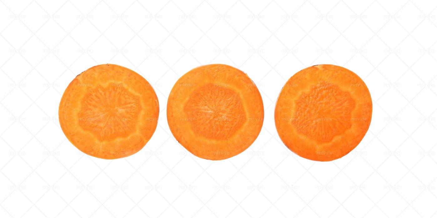 Three Carrot Slices: Stock Photos