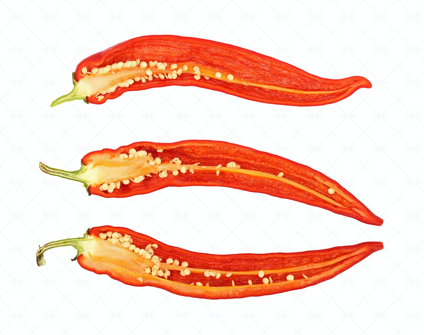 Three Cut Chili Peppers: Stock Photos