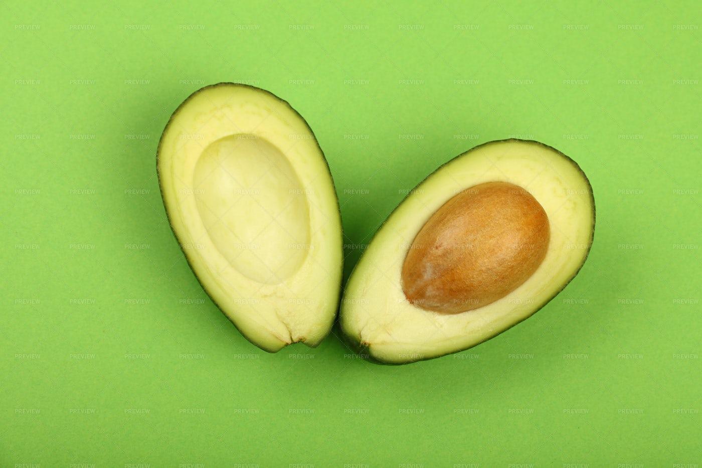 Two Avocado Halves: Stock Photos
