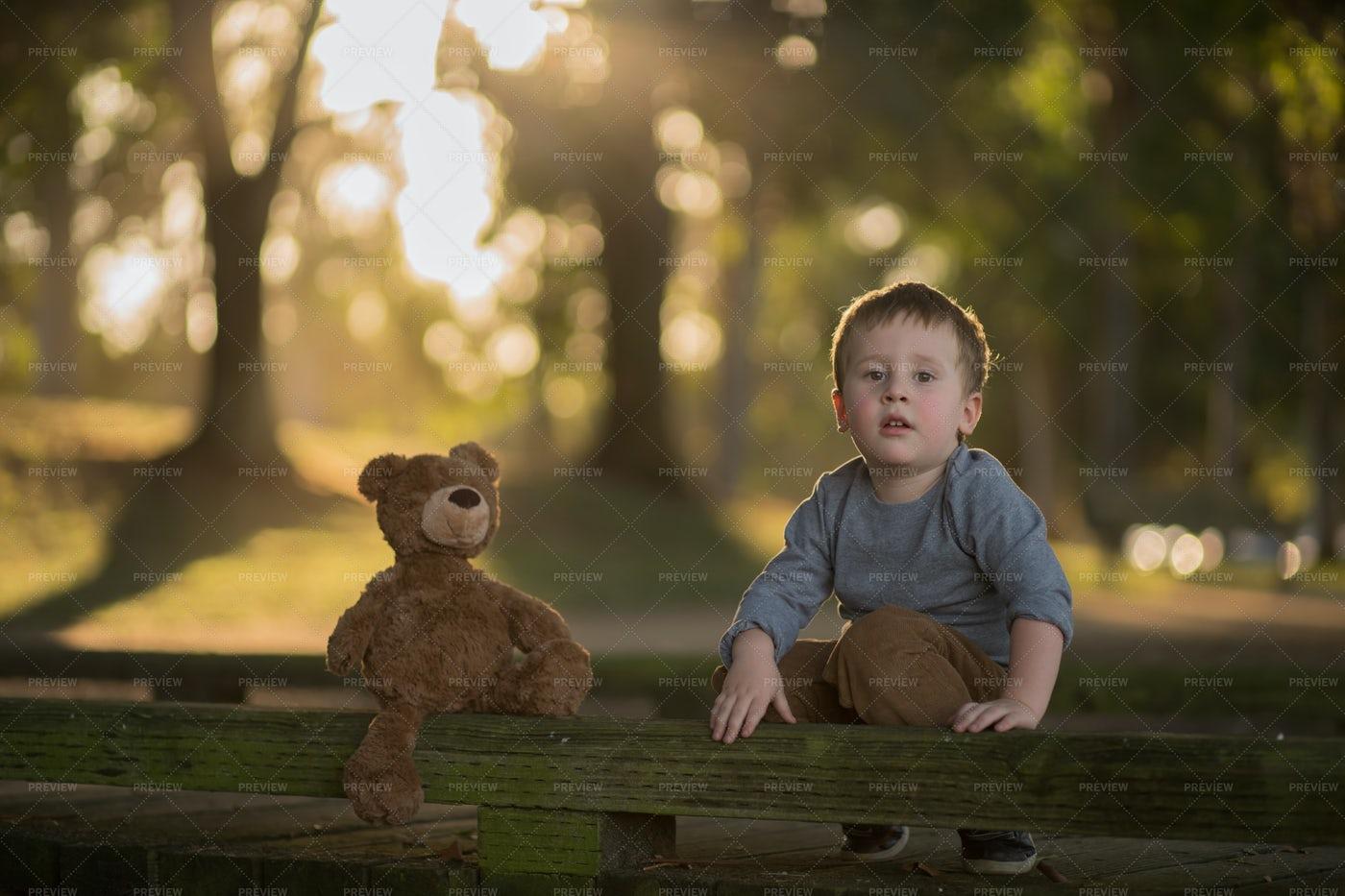 Boy With His Teddy Bear: Stock Photos