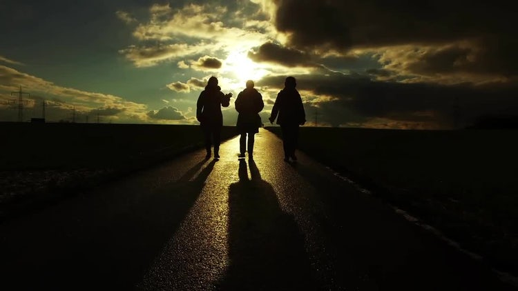 People Silhouette on Road: Stock Video