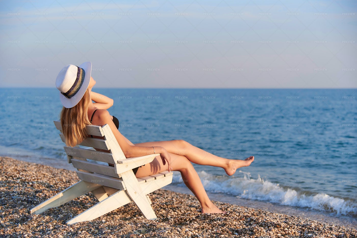 Relaxing On The Beach.: Stock Photos