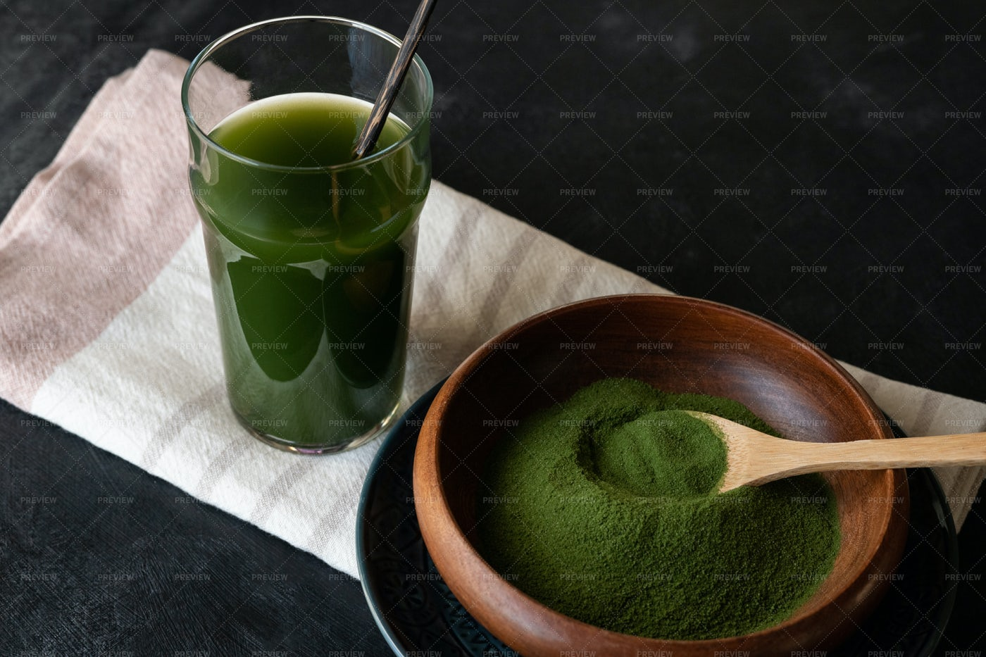 Spirulina Drink And Powder: Stock Photos