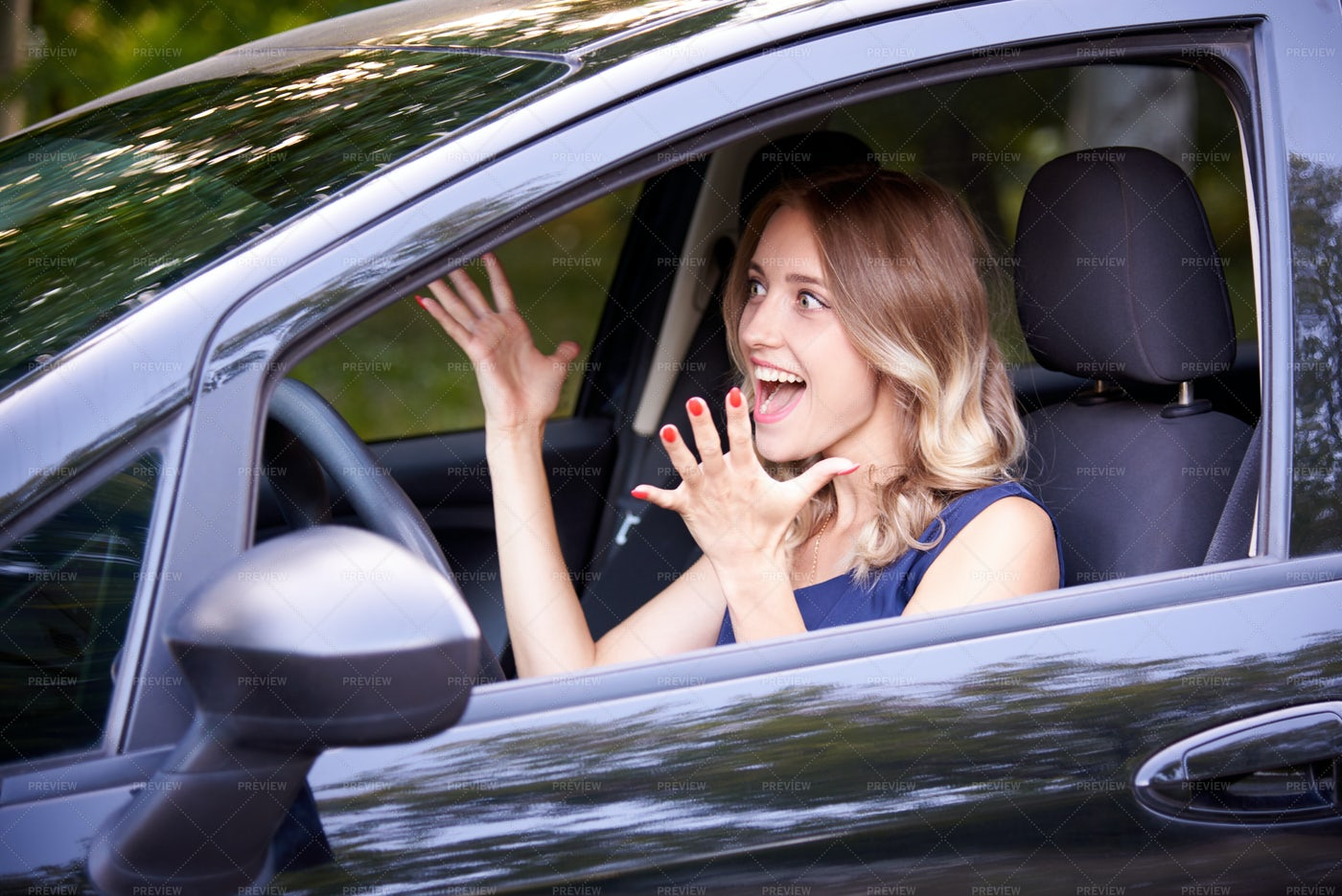 Excited In Her New Car: Stock Photos