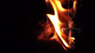 Christianity Symbol Cross On Fire Hell Pack: Stock Video
