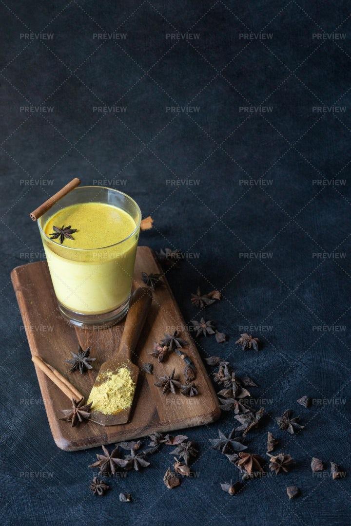Golden Turmeric Drink: Stock Photos
