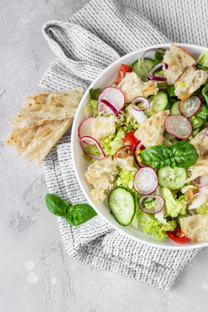 Salad With Pita Bread: Stock Photos
