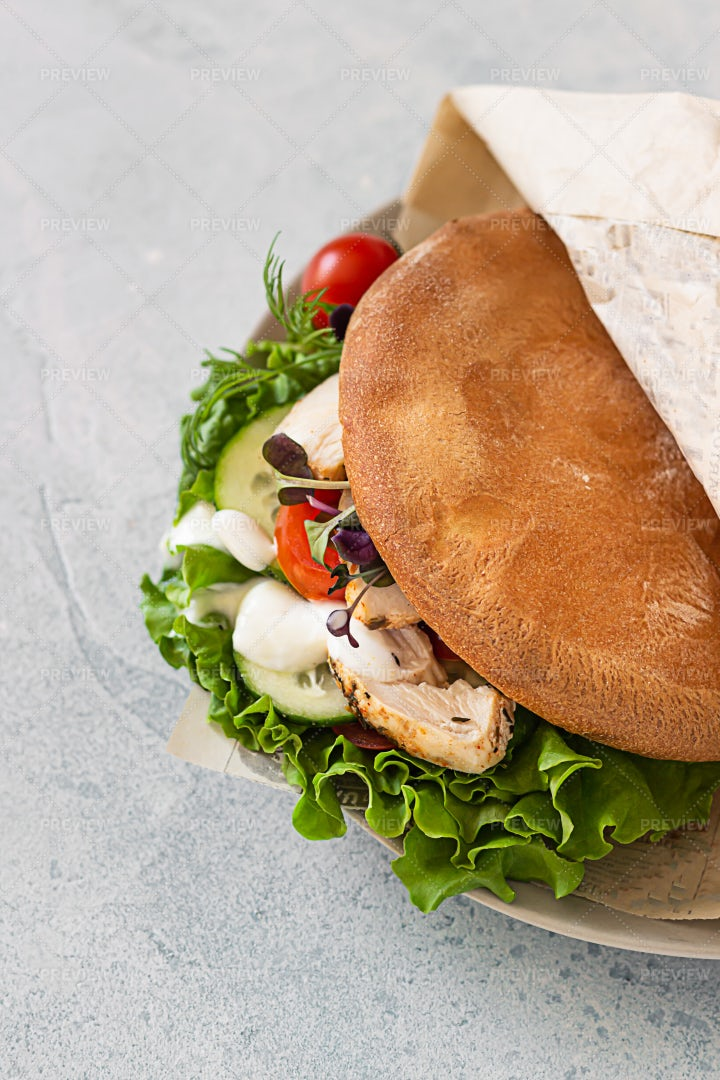 Pita Bread Sandwich: Stock Photos