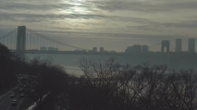 George Washington Bridge At Dawn: Stock Video