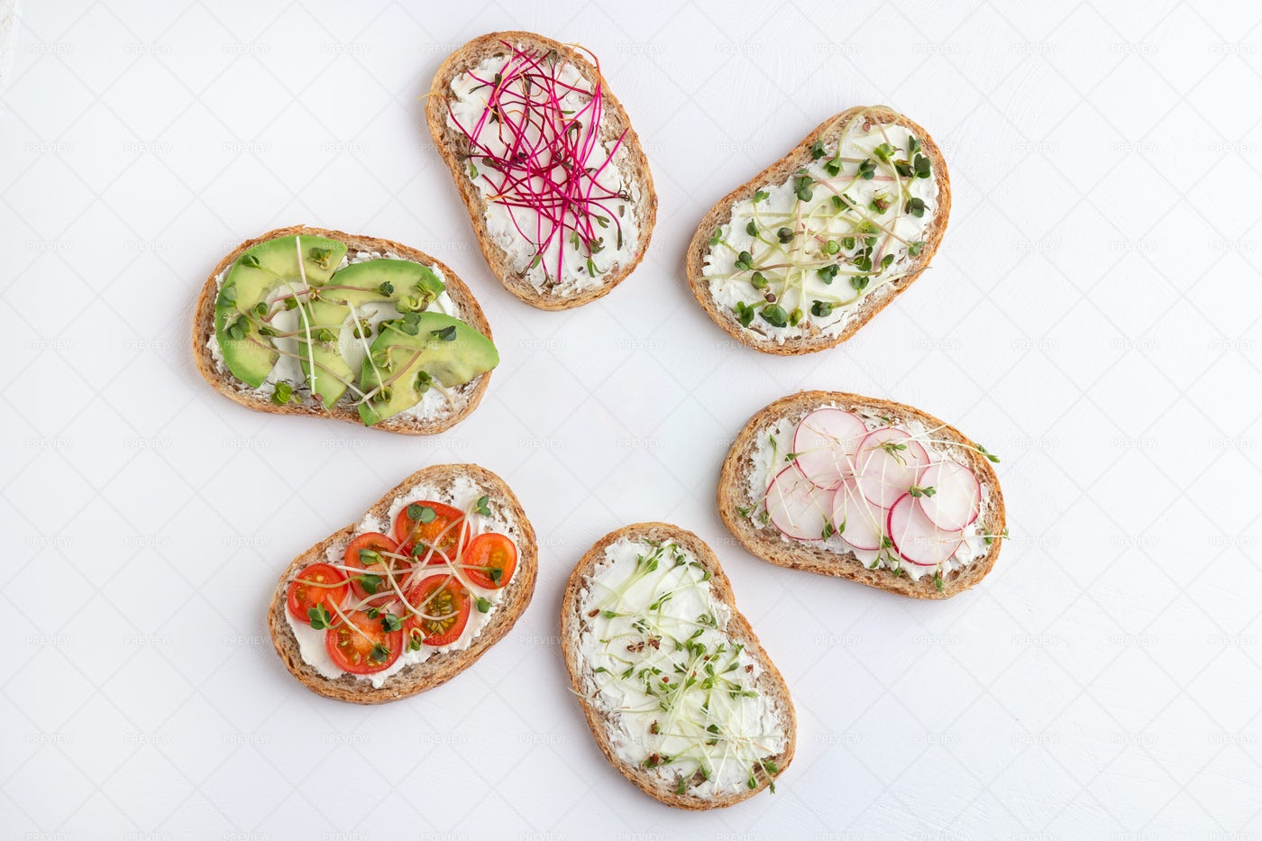 Healthy Bread Toppings: Stock Photos