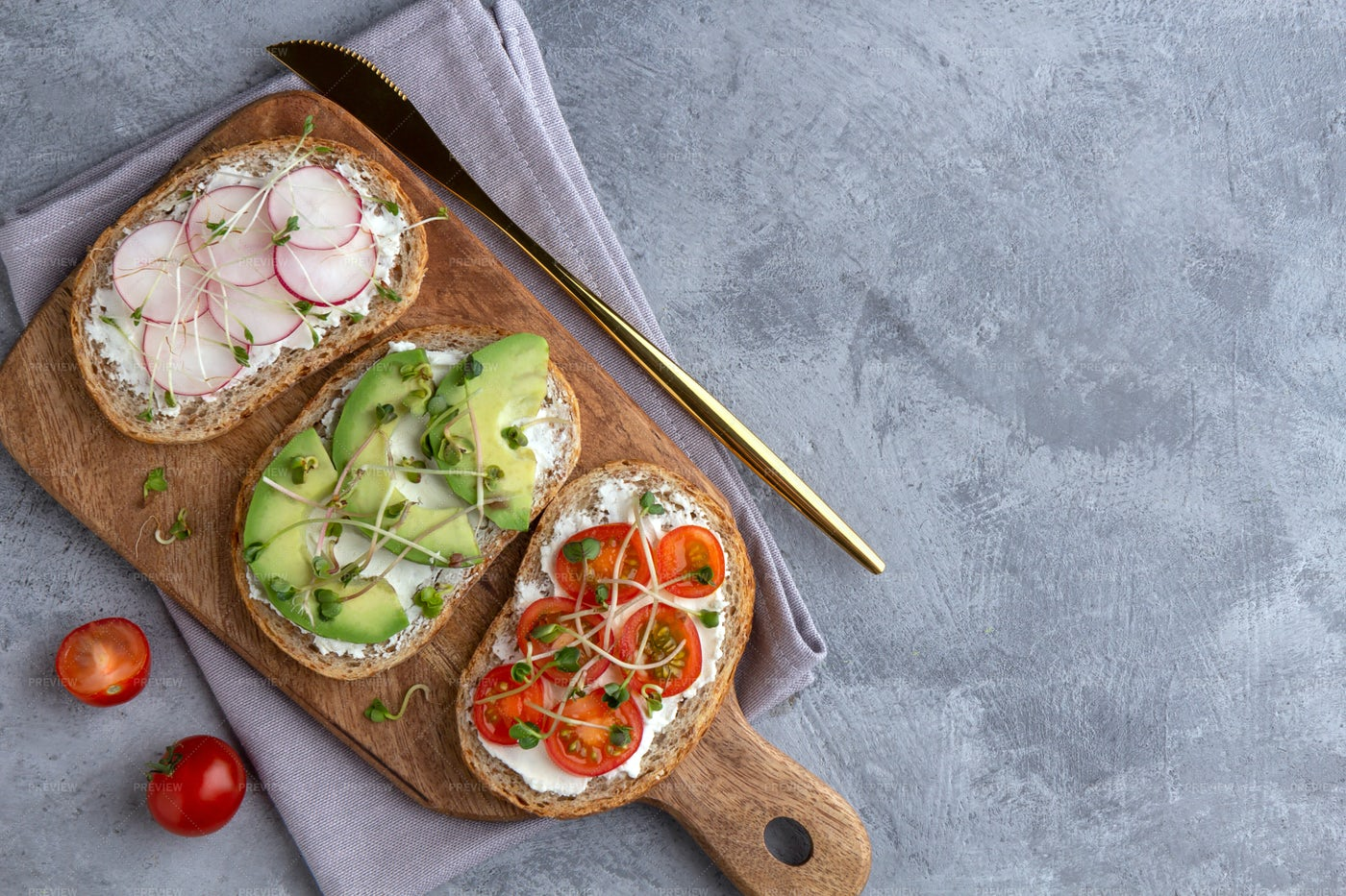 Cutting Board Of Sandwiches: Stock Photos
