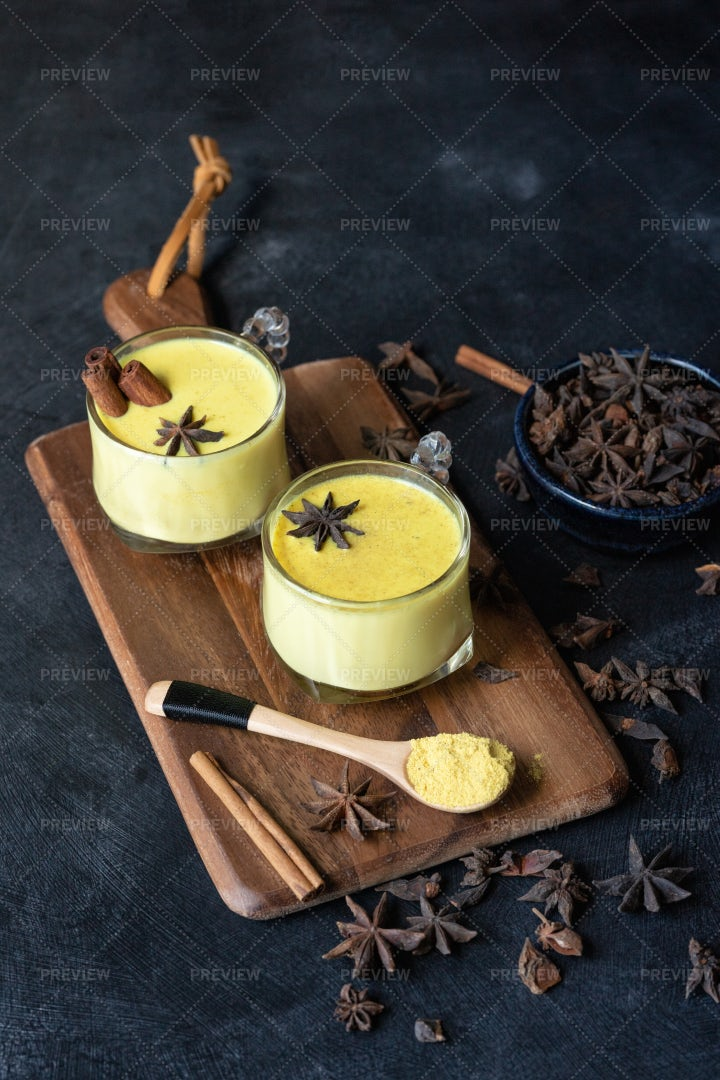 Golden Turmeric Milk Drink: Stock Photos