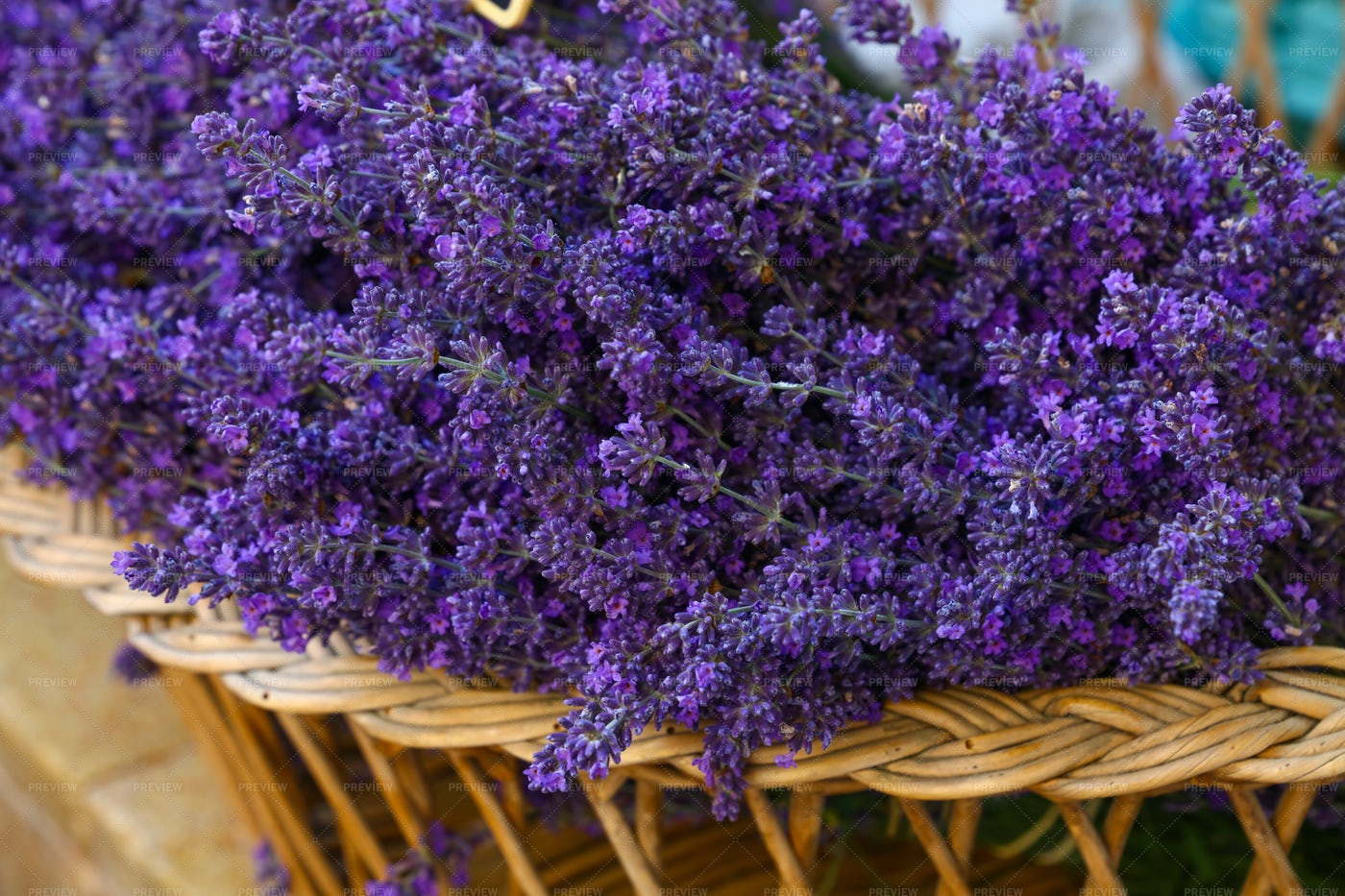 Lavenders In Wooden Basket: Stock Photos