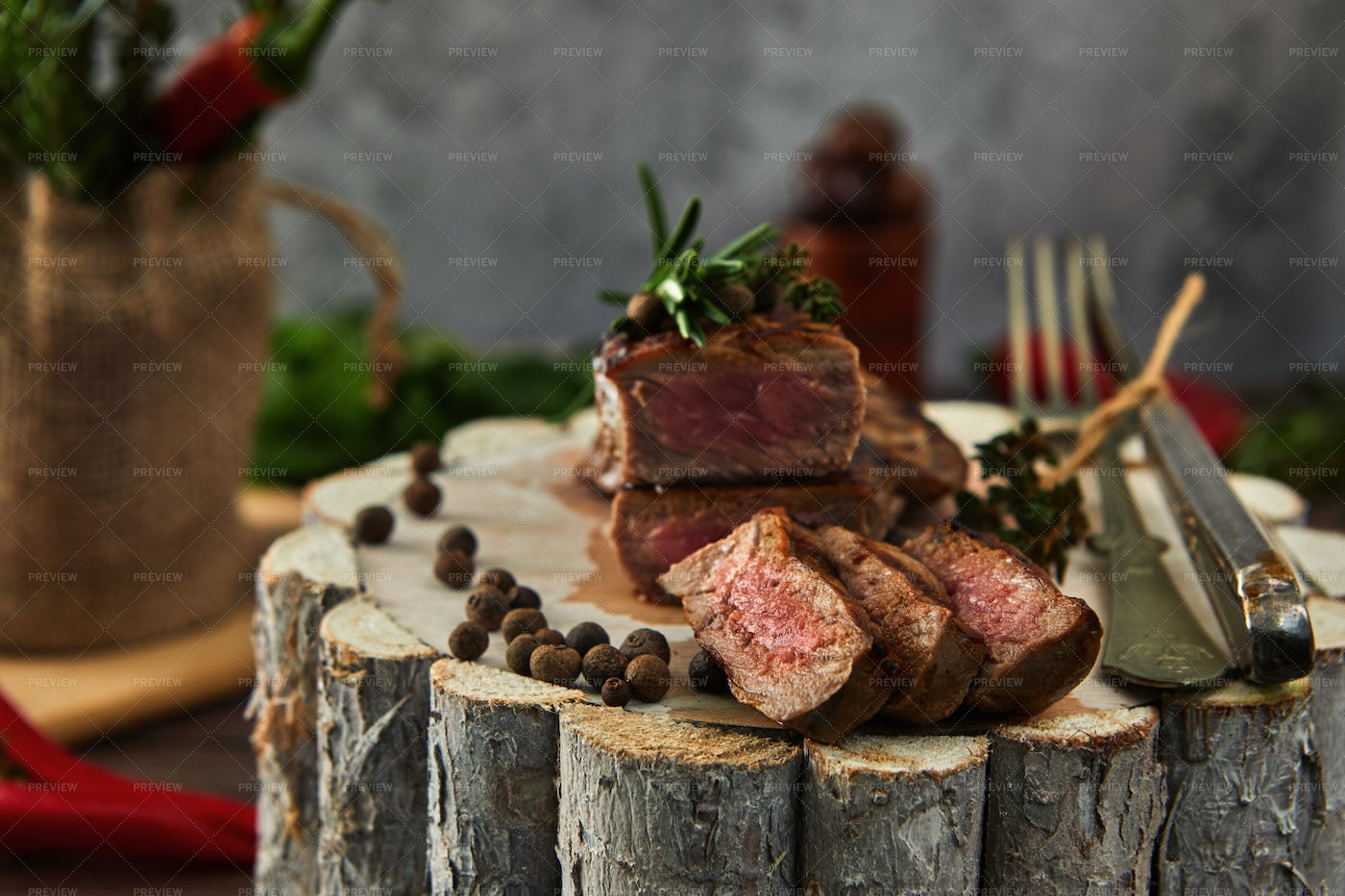 Beef Steak On Wood: Stock Photos