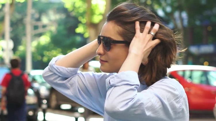 Portrait of Beautiful Young Girl In Sunglasses: Stock Video