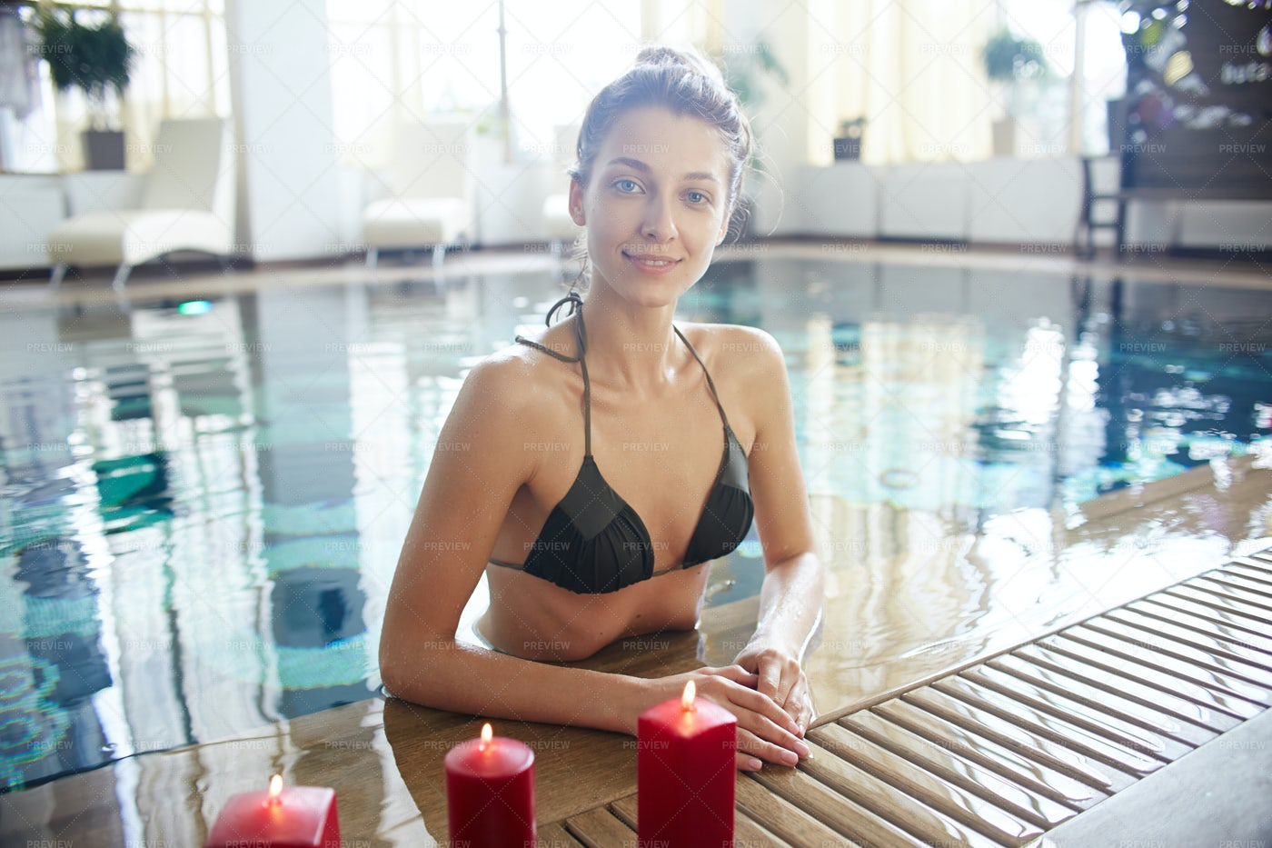 Smiling Woman In Swimming Pool: Stock Photos
