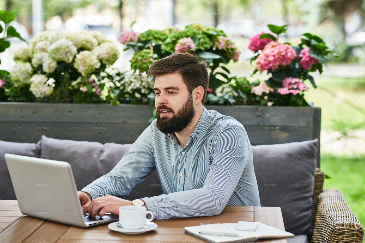 Bearded Businessman Working In...: Stock Photos