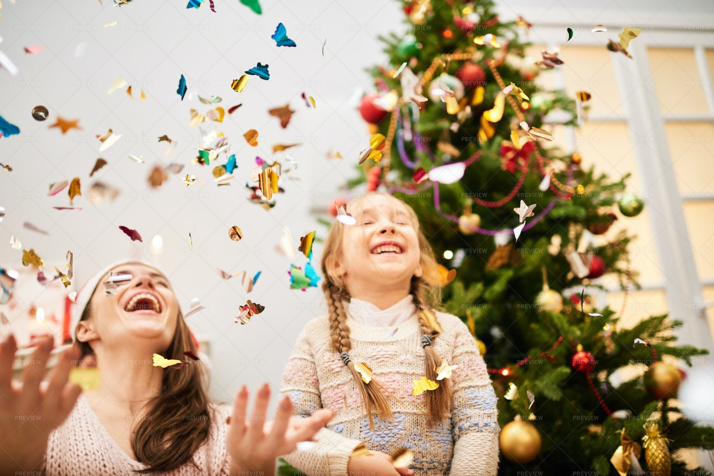 Celebrating Christmas With Little...: Stock Photos
