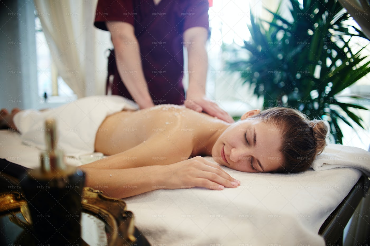 Relaxing Massage In SPA: Stock Photos
