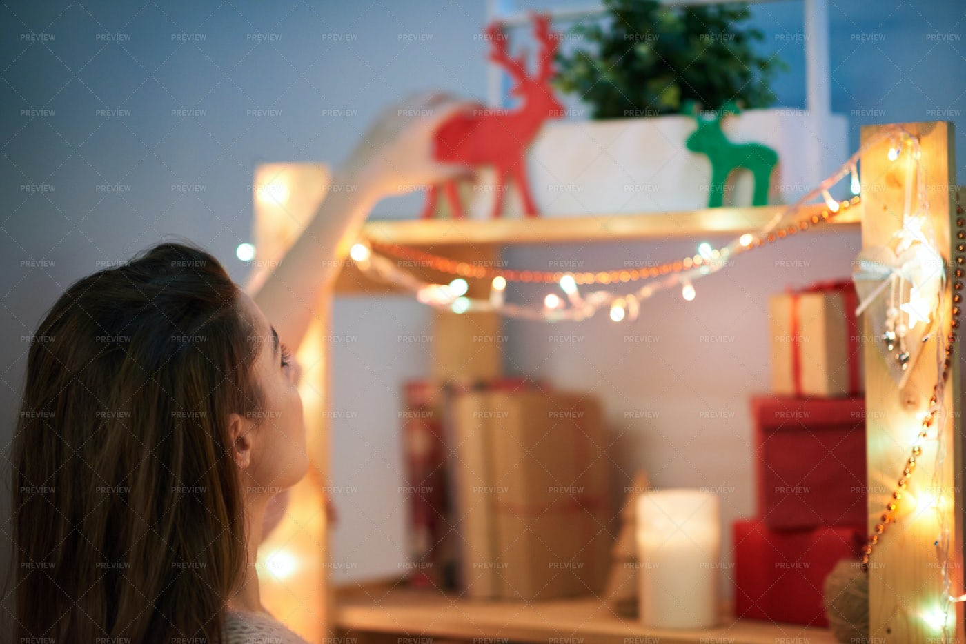 Decorating Room For Christmas...: Stock Photos
