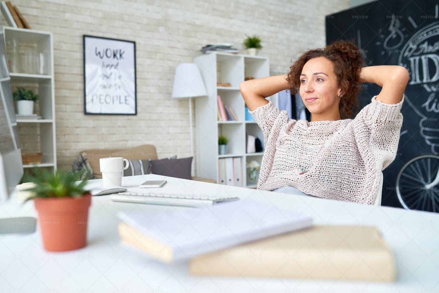 Modern Young Woman Taking Break...: Stock Photos