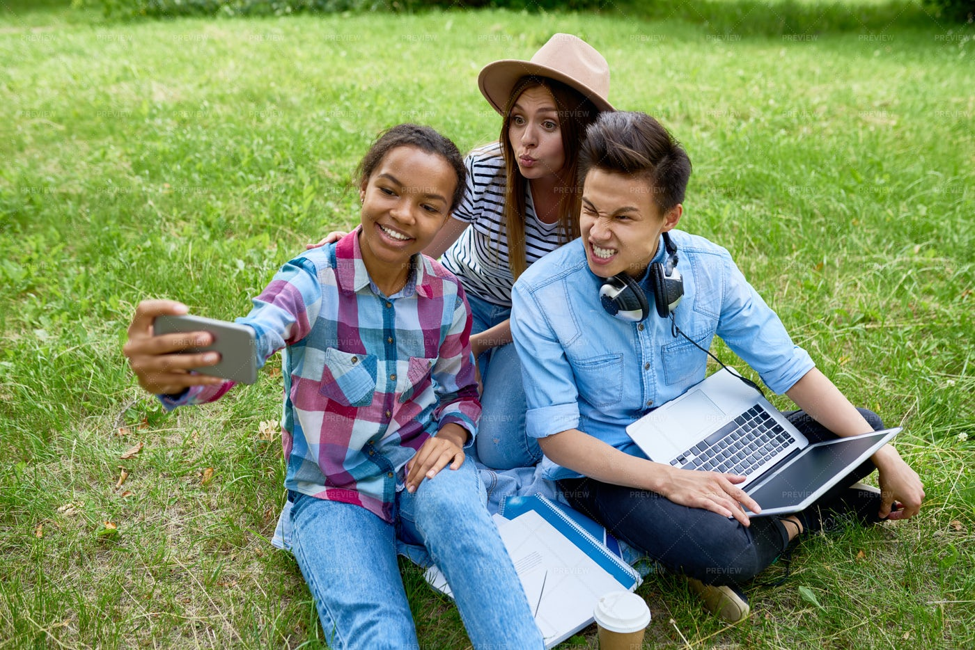 Grimacing Teenagers Taking Selfie...: Stock Photos