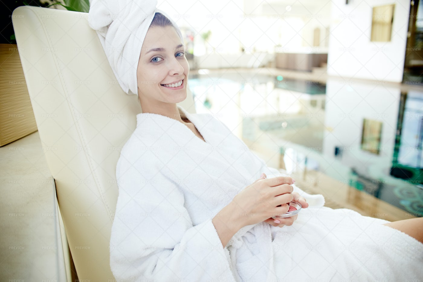 Woman Relaxing By Pool In SPA: Stock Photos